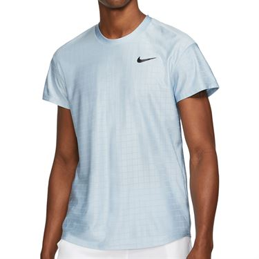 Nike Court Breathe Advantage Shirt Mens Lt Armory Blue/Black CV5032 440