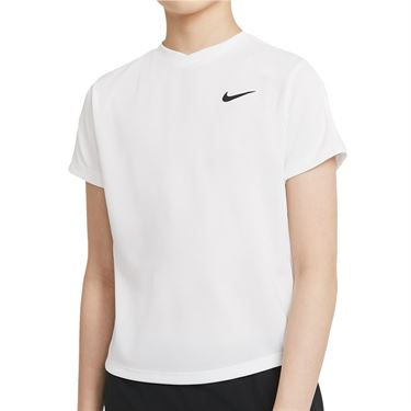 Nike Court Boys Dri Fit Victory Tee Shirt White/Black CV7565 100