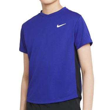 Nike Court Boys Dri Fit Victory Tee Shirt Concord/Black/White CV7565 471