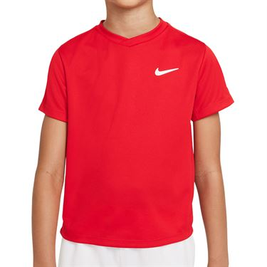 Nike Court Boys Dri Fit Victory Tee Shirt University Red/White CV7565 657