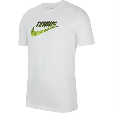 Nike Court Tee Shirt Mens White/Black/Volt CW1532 100