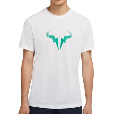 Nike Court Dri Fit Rafa Tee Shirt Mens White/Lucid Green CW1534 100