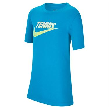 Nike Boys Court Tee Shirt Neo Turquoise/White/Black CW1538 425