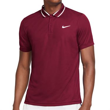 Nike Court Dri FIT Victory Polo Shirt Mens Dark Beetroot/White CW6848 638