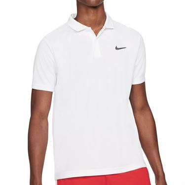 Nike Court Dri FIT Victory Polo Shirt Mens White/Black CW6849 100
