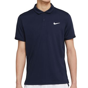 Nike Court Dri FIT Victory Polo Shirt Mens Obsidian/White CW6849 451
