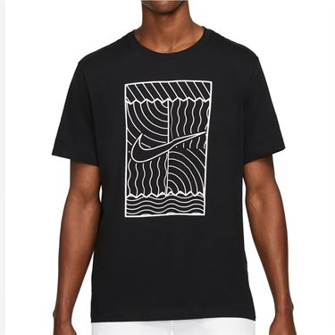 Nike Court Tee Shirt Mens Black/White DC5246 010