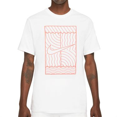 Nike Court Tee Shirt Mens White/Bright Mango DC5246 100