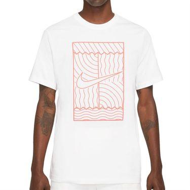 Nike Court Tee Shirt Mens White/Bright Mango DC5246 100