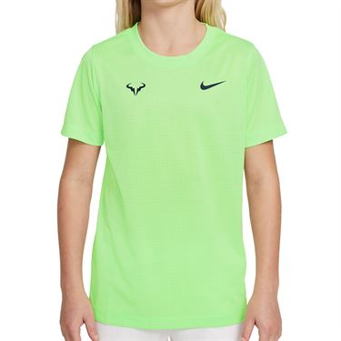 Nike Court Boys Rafa Crew Shirt Lime Glow/Obsidian DD2304 345