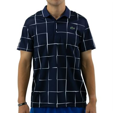 Lacoste SPORT Breathable Print Pique Tennis Polo - Navy Blue/White
