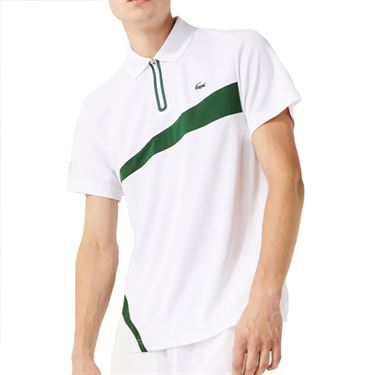 Lacoste SPORT Paneled Breathable Pique Polo - White/Green