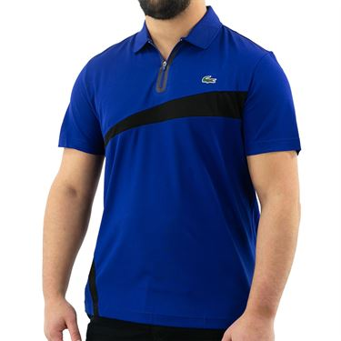 Lacoste SPORT Paneled Breathable Pique Polo - Cosmic/Black