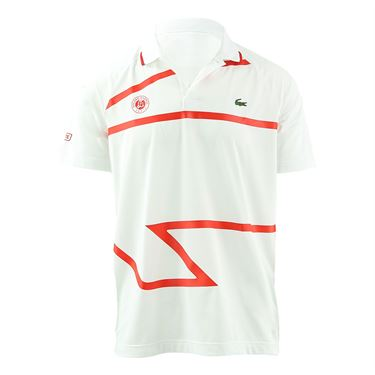 Lacoste Novak Djokovic Ultra Dry Polo Shirt Mens White/Fireman DH4741 NJ7