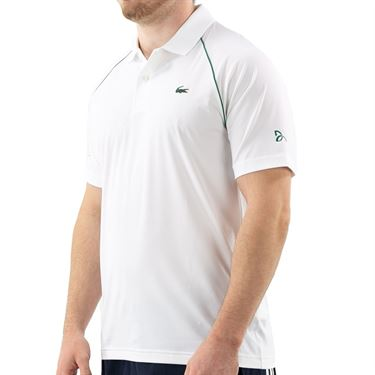 Lacoste Novak Djokovic Semi Fancy Polo Shirt Mens White/Yucca DH4743 EMA