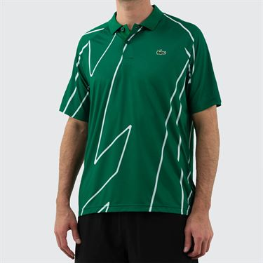 Lacoste Novak Djokovic Ultra Dry Vertical Polo Shirt Mens Yucca/White DH6235 4YA