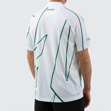 Lacoste Novak Djokovic Ultra Dry Vertical Polo Shirt Mens White/Yucca DH6235 EMA