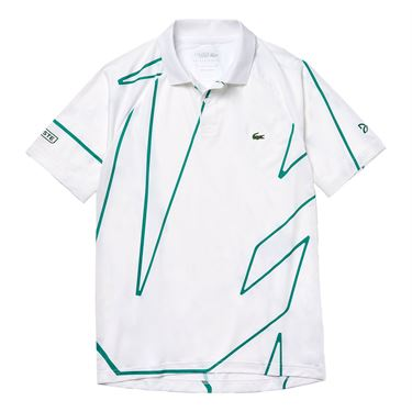 Lacoste Novak Djokovic Ultra Dry Vertical Polo Shirt Mens White/Yucca DH6235 EMA