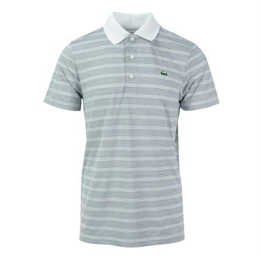 Lacoste Golf Ultra Dry Tech Stretch Jersey Heather Stripe Polo - White