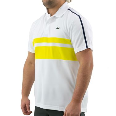 Lacoste Chemise Polo Shirt Mens White/Pineapple/Navy Blue DH9605 4GH
