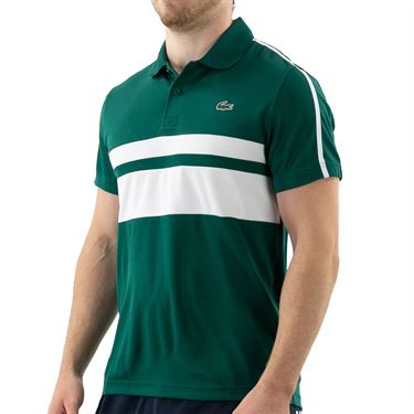 Lacoste Chemise Polo Shirt Mens Bottle Green/White DH9605 MWX