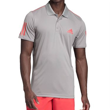 adidas Club 3 Stripe Polo - Light Granite/Shock Red