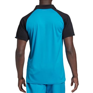 adidas Club Color Block Polo - Shock Cyan/Black