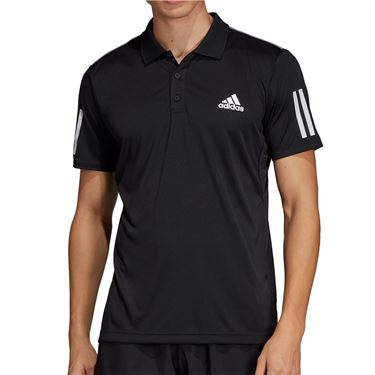 adidas Club 3 Stripe Polo - Black/White