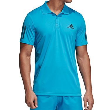 adidas Club 3 Stripe Polo - Shock Cyan/Black