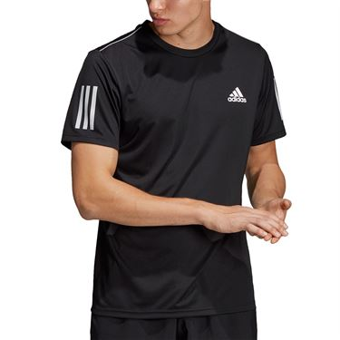 adidas Club 3 Stripe Crew - Black/White