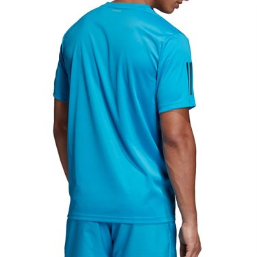 adidas Club 3 Stripe Crew - Shock Cyan/Black