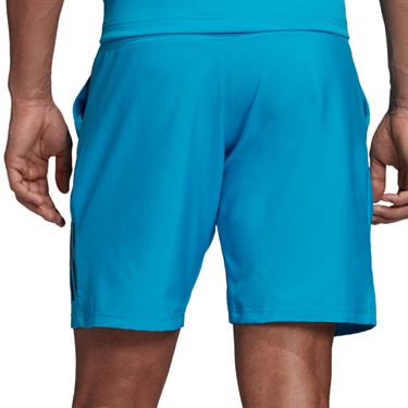 adidas Club 3 Stripe Short 9 inch - Shock Cyan/Black