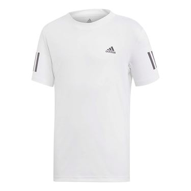 adidas Boys Club 3 Stripe Tee Shirt White/Black DU2486