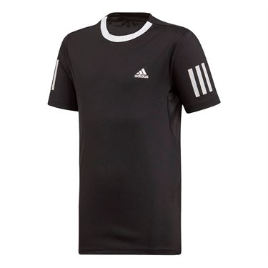 adidas Boys Club 3 Stripe Tee Shirt Black/White DU2487