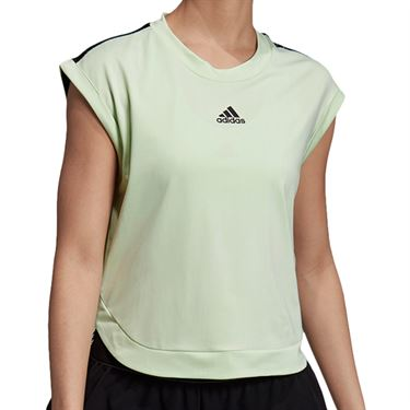 adidas NY Tee Shirt Womens Glow Green/Black DX4318