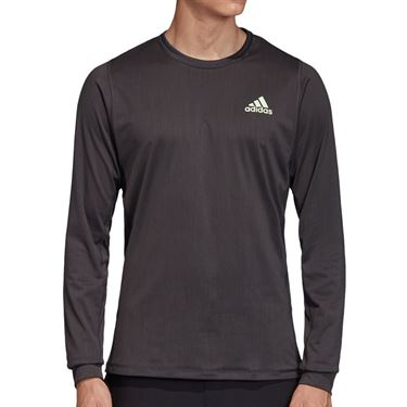 adidas NY Long Sleeve Tee Shirt Mens Carbon/Glow Green DX4325