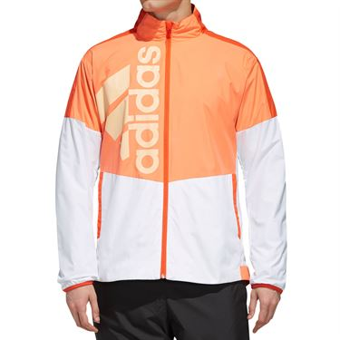 adidas Team Full Zip Jacket Mens White/HiRes Coral DY7460