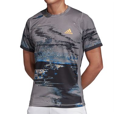 adidas NY Printed Tee Shirt Mens Grey Three/Black/Flash Orange DZ6217
