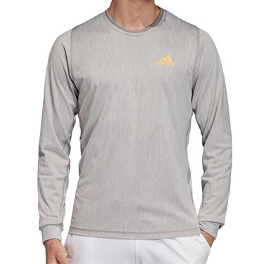 adidas NY Long Sleeve Tee Shirt Mens Grey Three/Flash Orange DZ6223