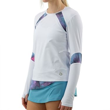 Bluefish Cotton Candy Long Sleeve Top Womens White/Cotton Candy Print E1030 WHT