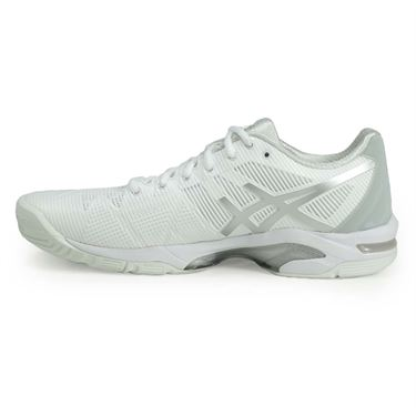 Asics Gel Solution Speed 3 Womens Tennis Shoe - White/Silver