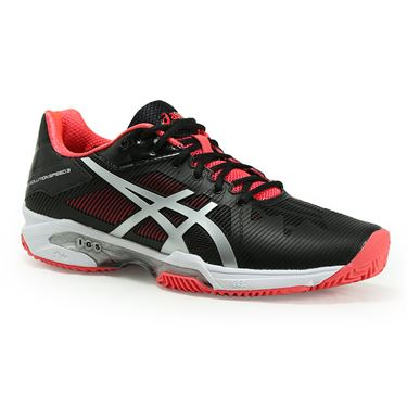 Asics Gel Solution Speed 3 Clay Womens Tennis Shoe - Black/Silver/Dive Pink