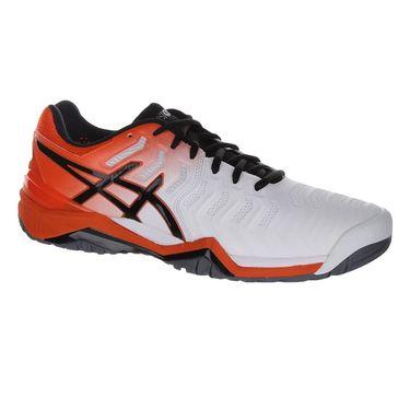 Asics Gel Resolution 7 Mens Tennis Shoe - White/Koi