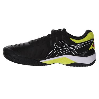 Asics Gel Resolution 7 Clay Mens Tennis Shoe - Black/Sour Yuzu