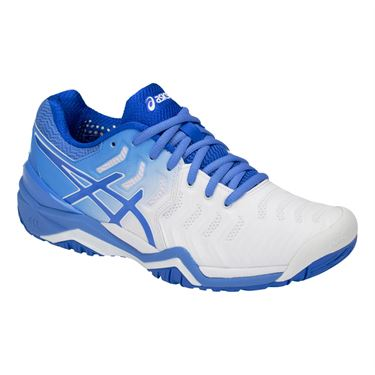 Asics Gel Resolution 7 Womens Tennis Shoe - White/Blue Coast