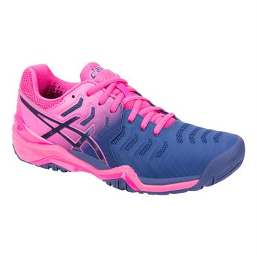 Asics Gel Resolution 7 Womens Tennis Shoe - Pink/Blue Print