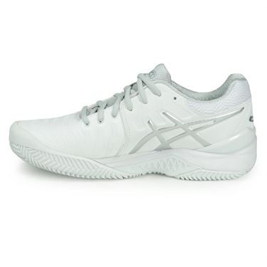 Asics Gel Resolution 7 Clay Womens Tennis Shoe - White/Silver