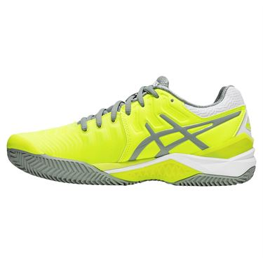 Asics Gel Resolution 7 Clay Womens Tennis Shoe - Safety Yellow/Stone Grey