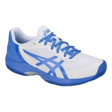 Asics Gel Court Speed Clay Womens Tennis Shoe - White/Coastal Blue