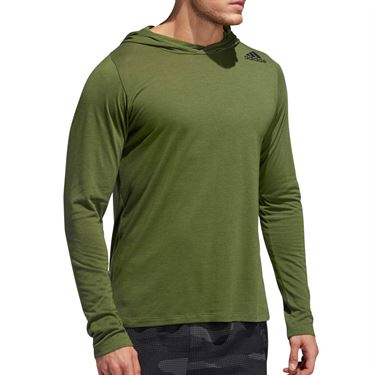adidas Long Sleeve Hood Tee Shirt Mens Tech Olive/Heather EB8011